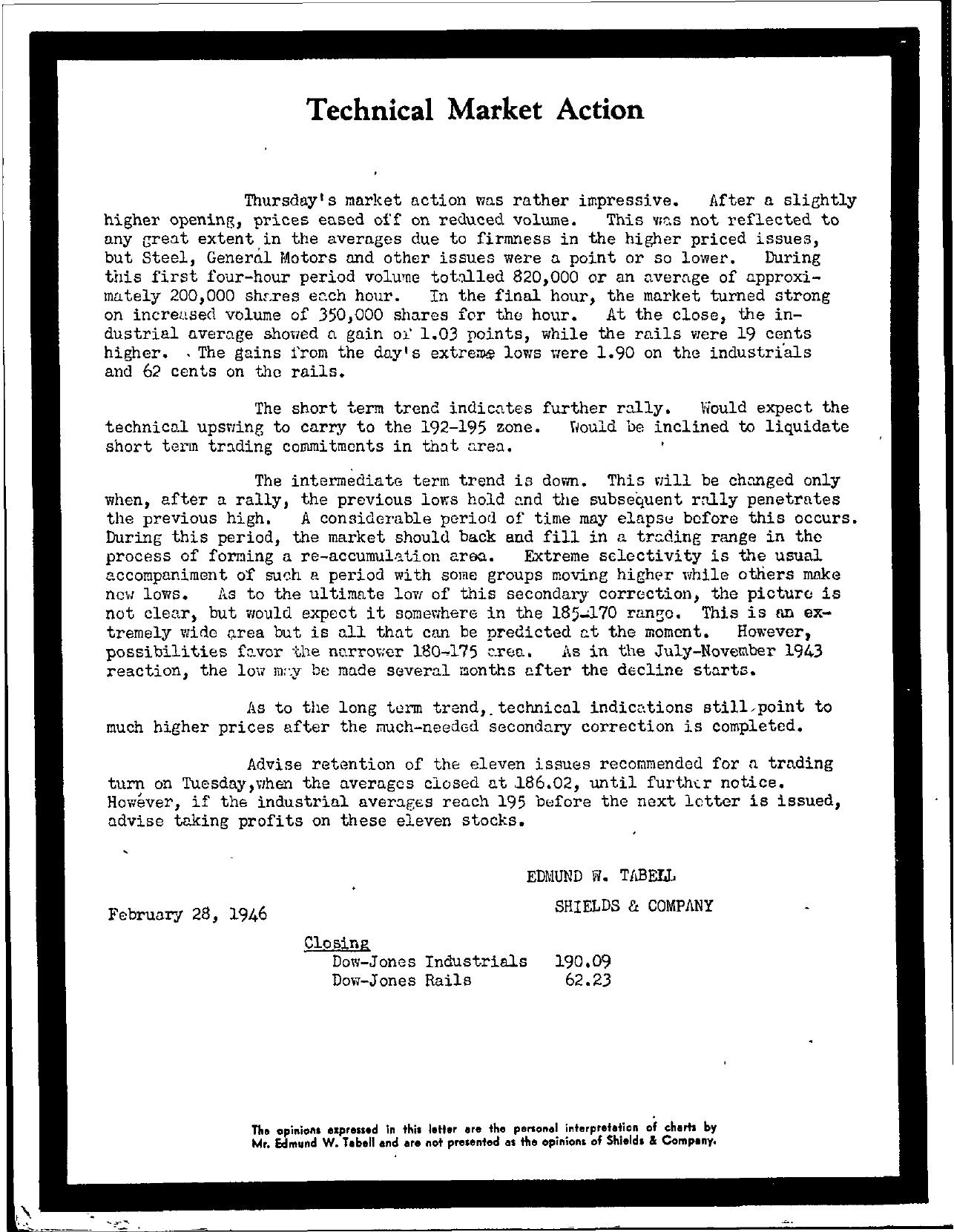 Tabell's Market Letter - February 28, 1946