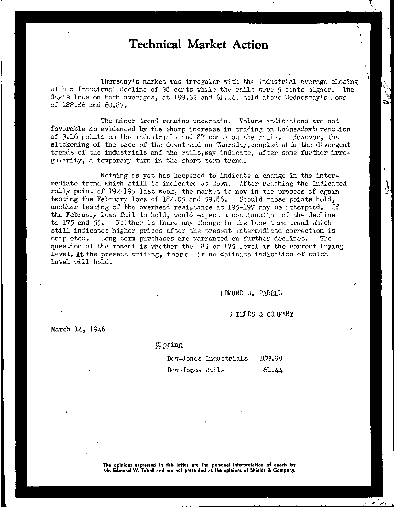 Tabell's Market Letter - March 14, 1946