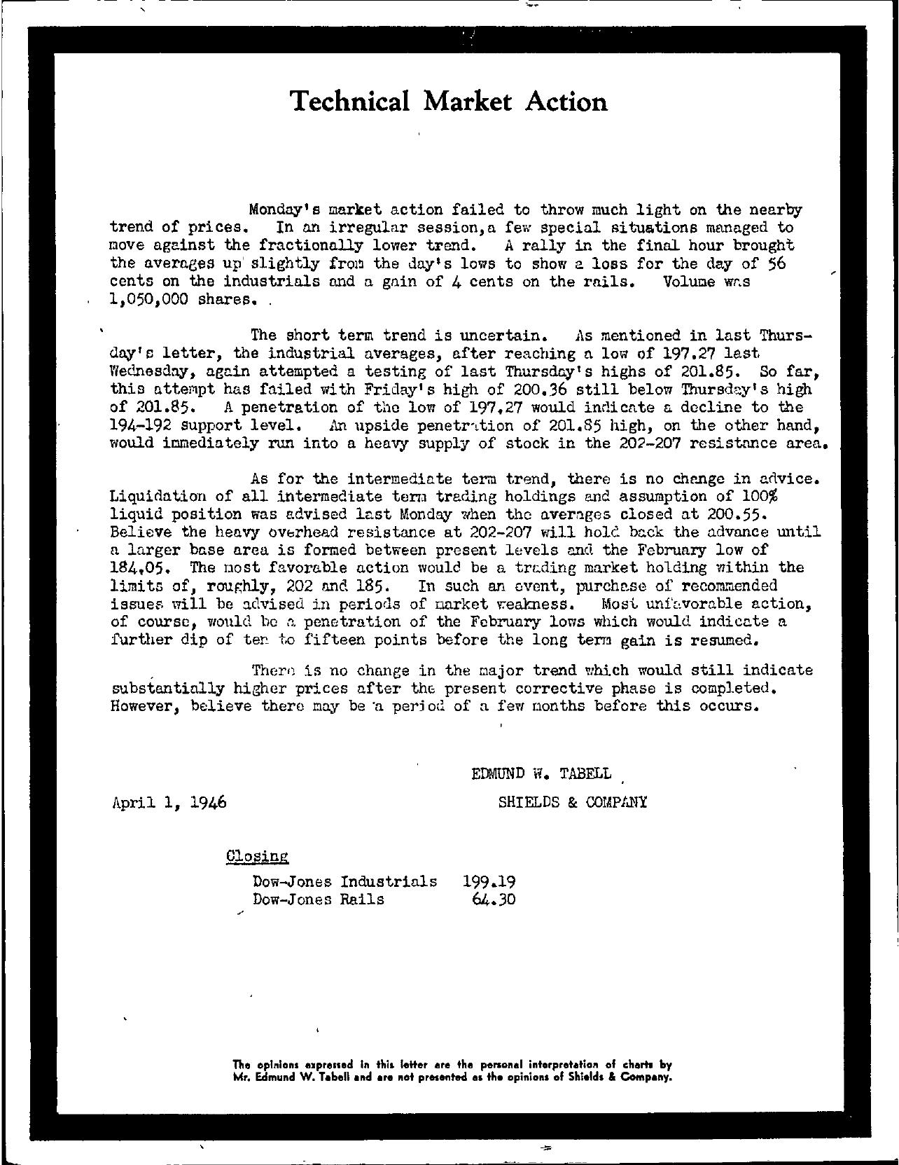 Tabell's Market Letter - April 01, 1946