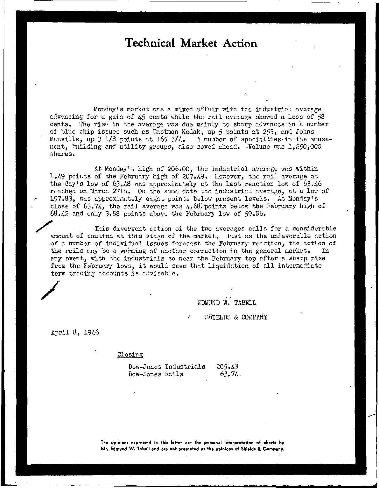 Tabell's Market Letter - April 08, 1946
