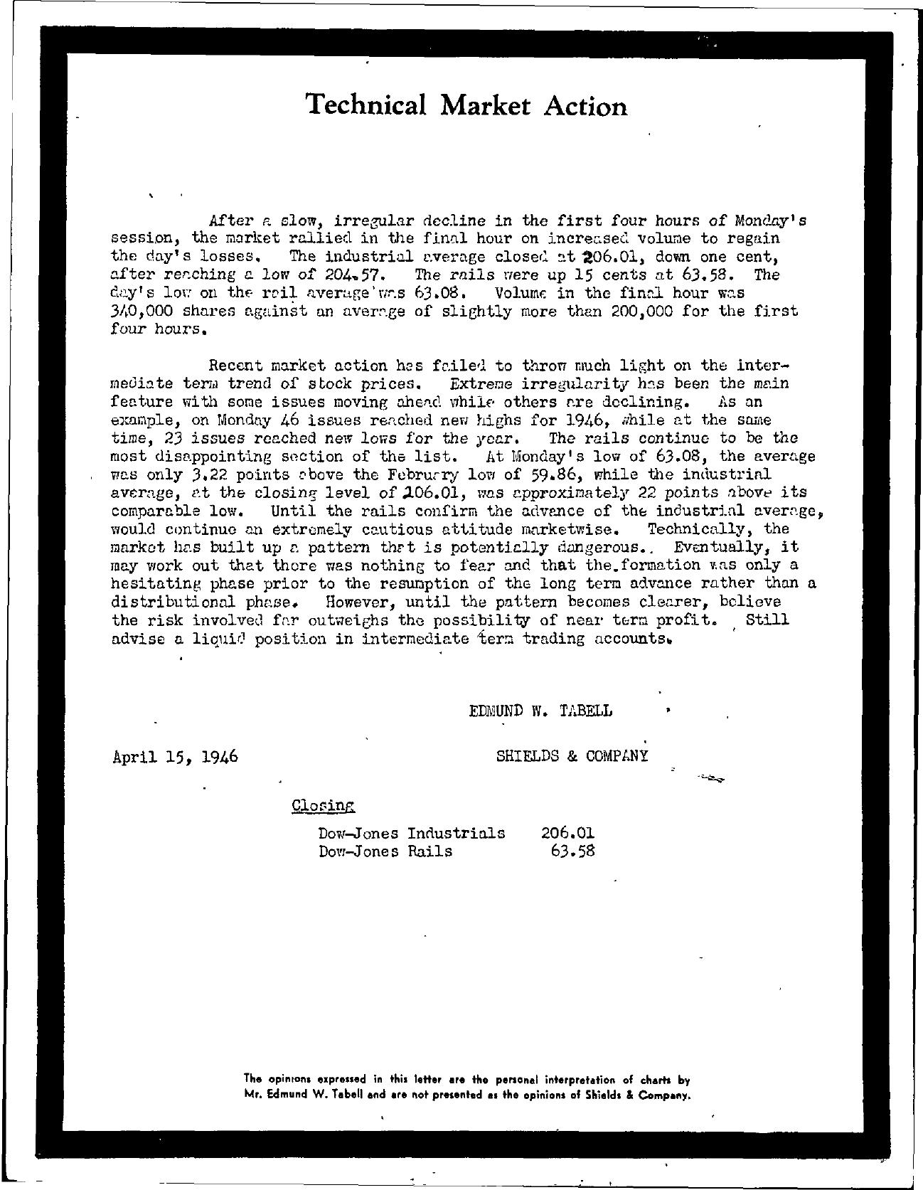Tabell's Market Letter - April 15, 1946