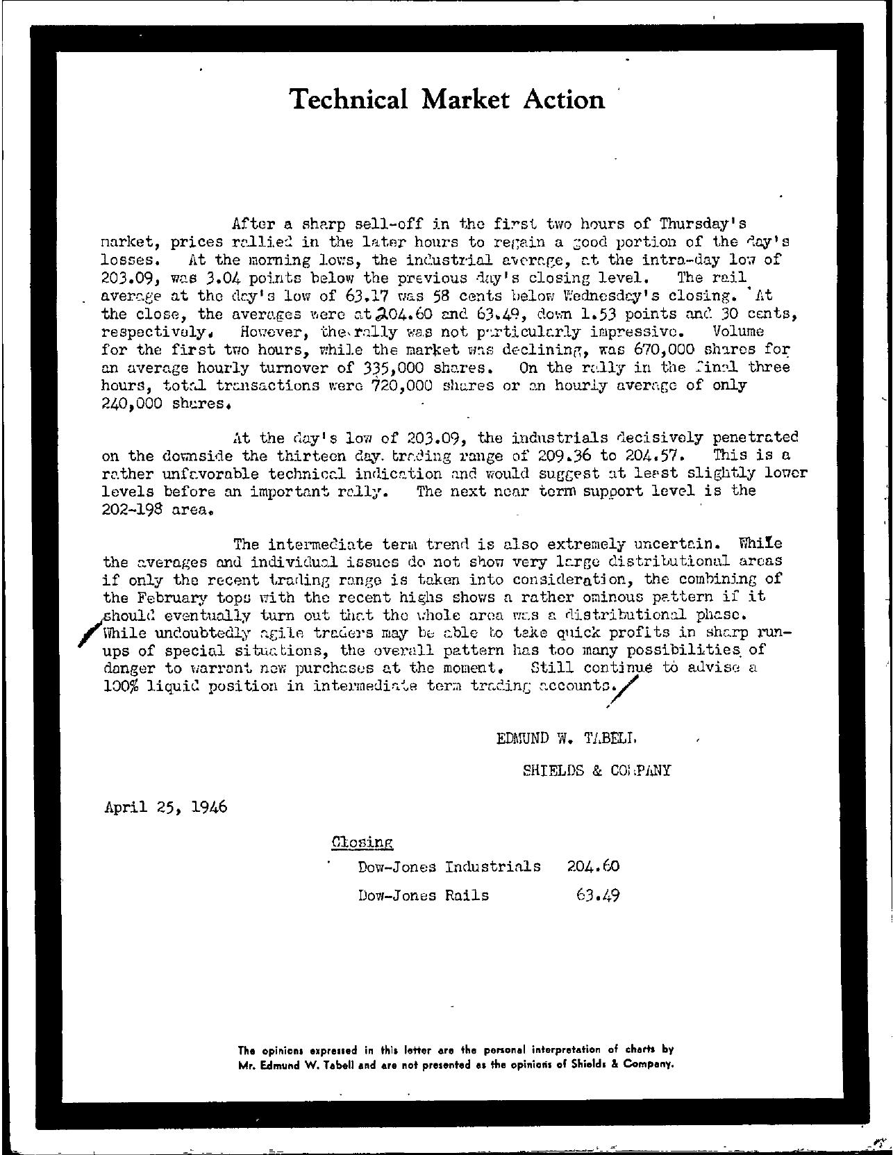 Tabell's Market Letter - April 25, 1946