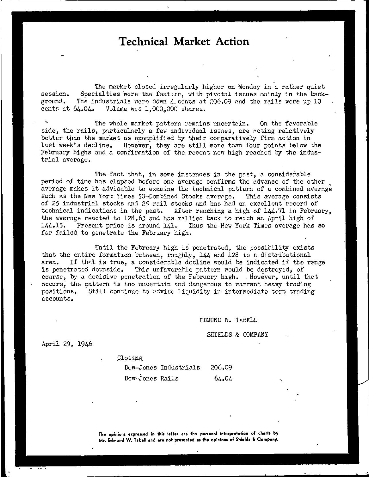 Tabell's Market Letter - April 29, 1946
