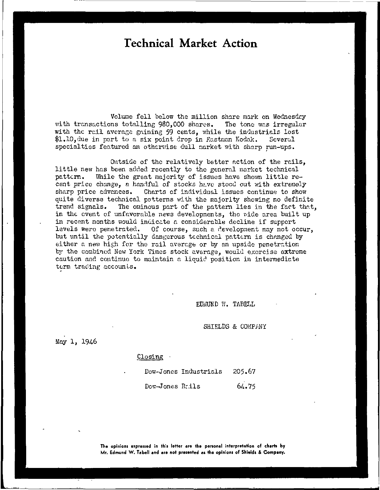 Tabell's Market Letter - May 01, 1946