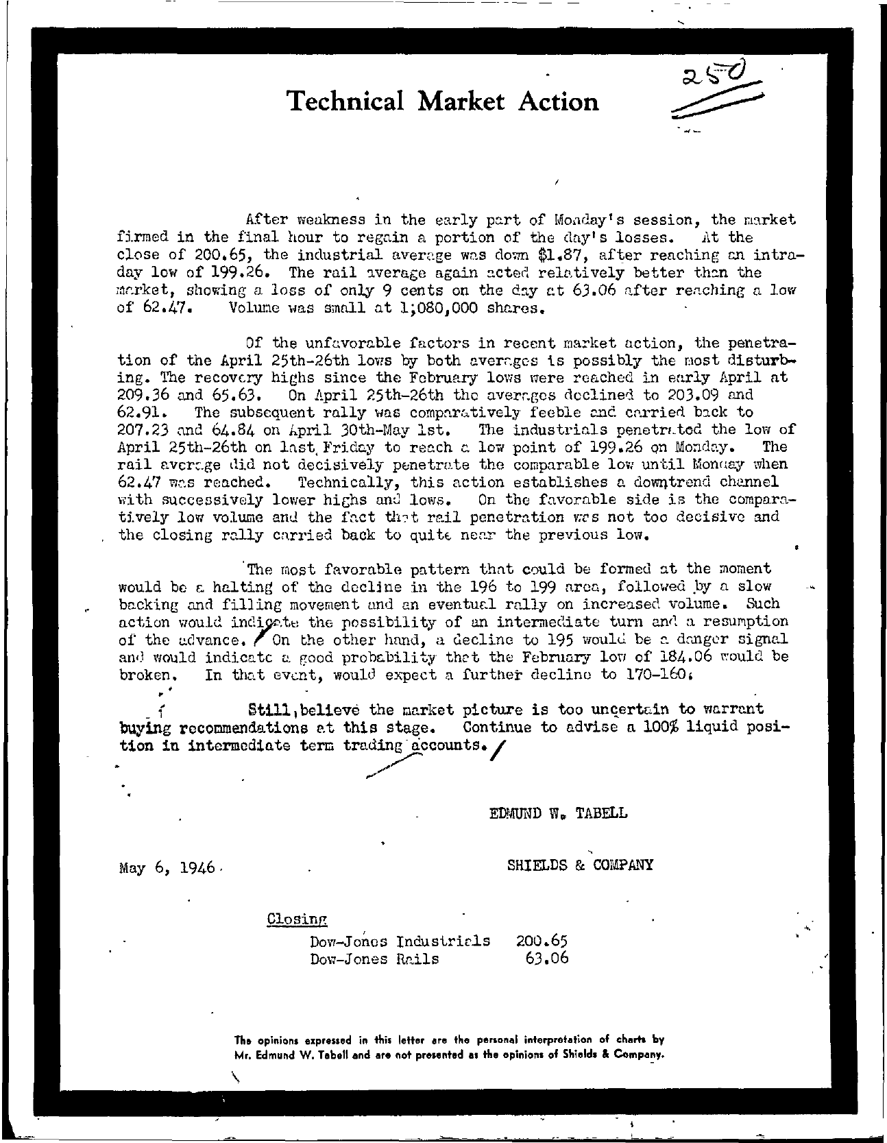 Tabell's Market Letter - May 06, 1946