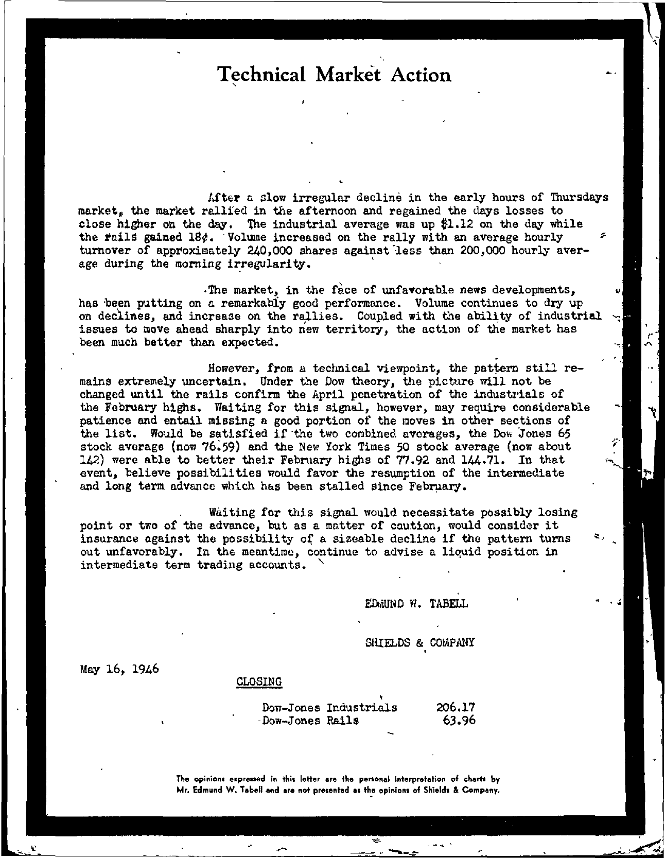 Tabell's Market Letter - May 16, 1946