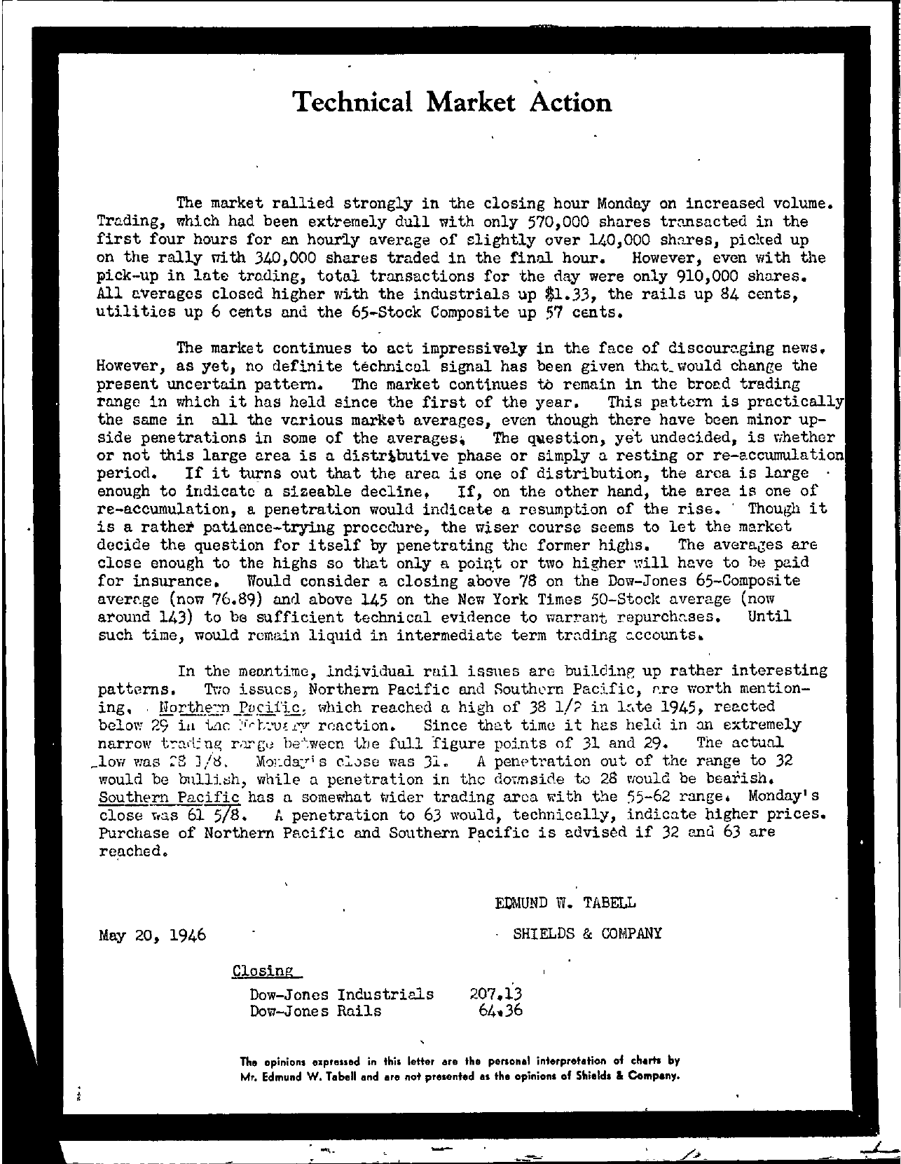 Tabell's Market Letter - May 20, 1946