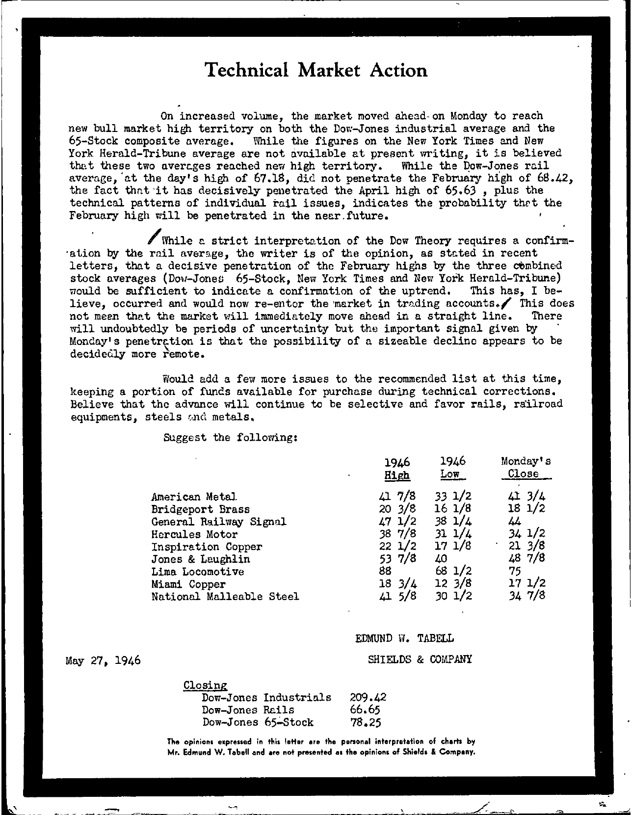 Tabell's Market Letter - May 27, 1946