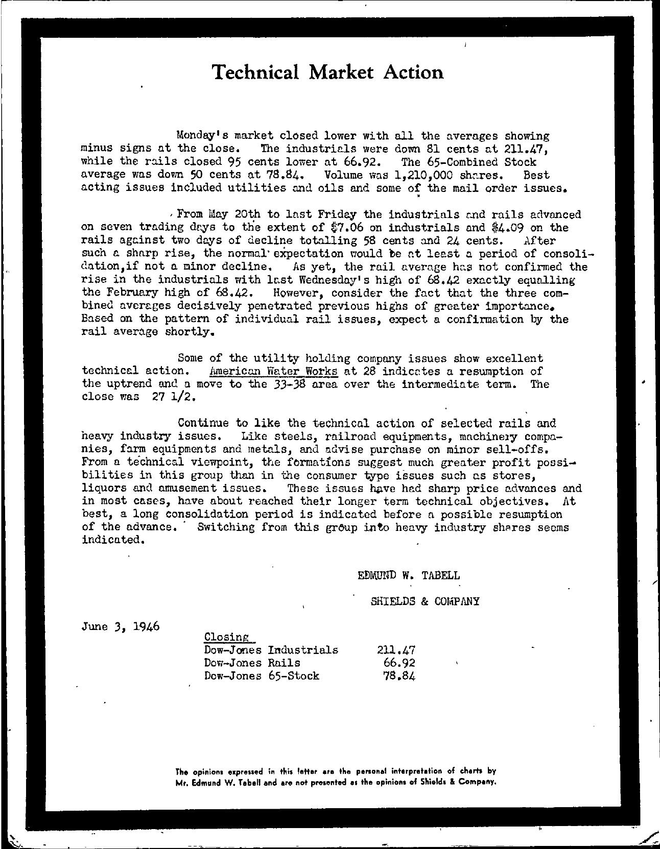 Tabell's Market Letter - June 03, 1946