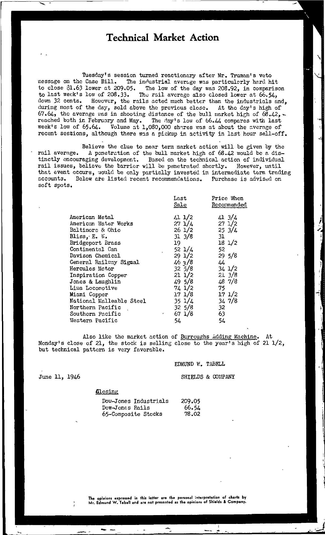 Tabell's Market Letter - June 11, 1946