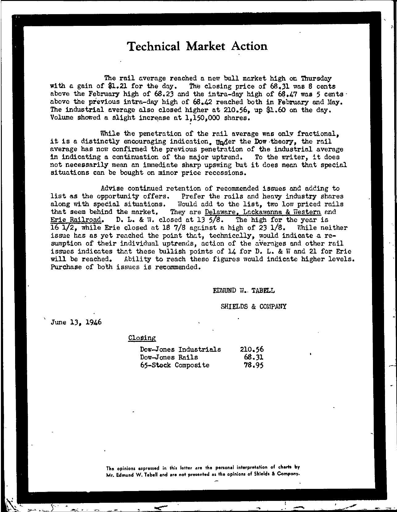 Tabell's Market Letter - June 13, 1946