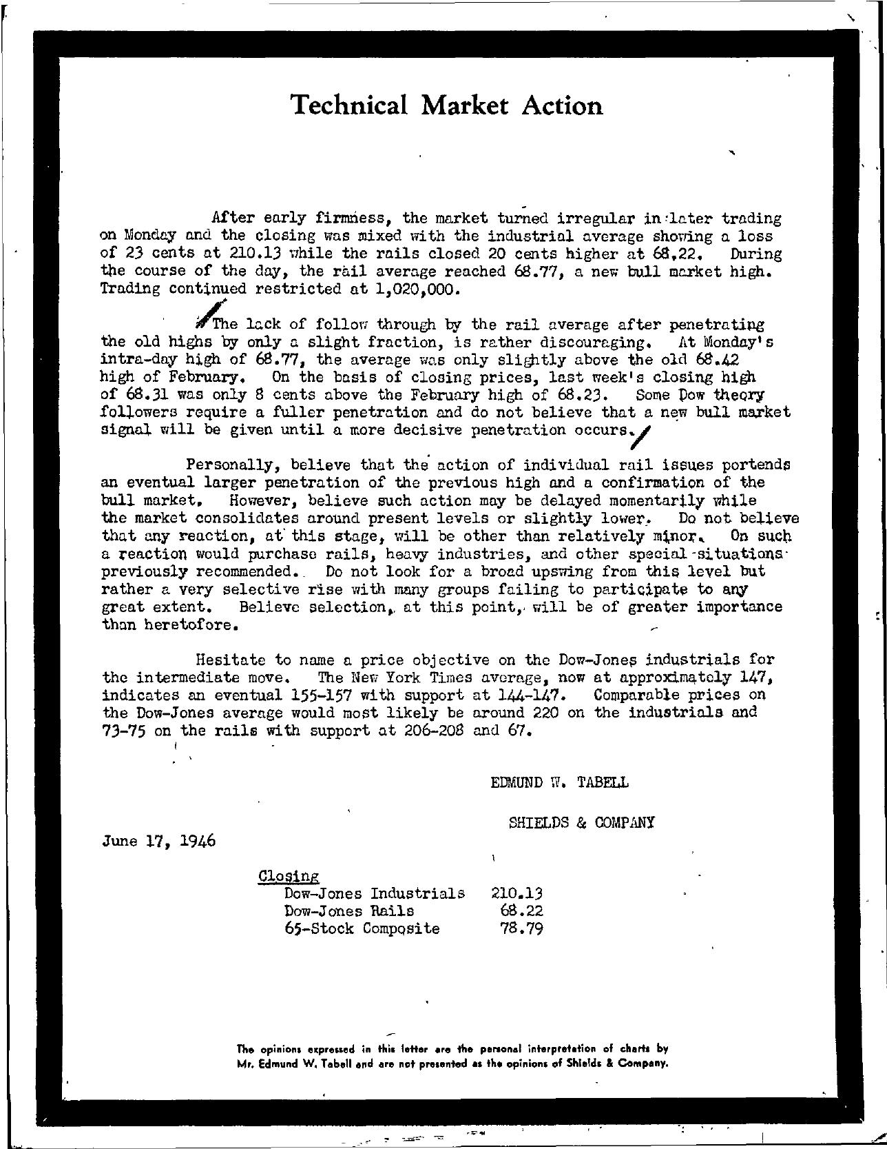 Tabell's Market Letter - June 17, 1946