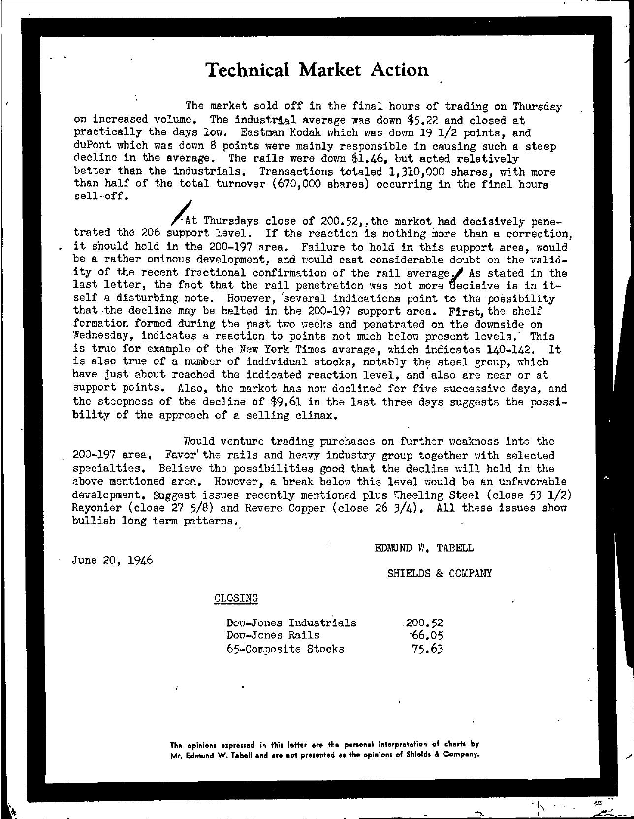 Tabell's Market Letter - June 20, 1946