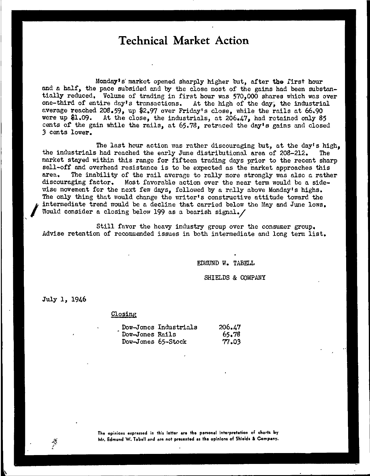 Tabell's Market Letter - July 01, 1946