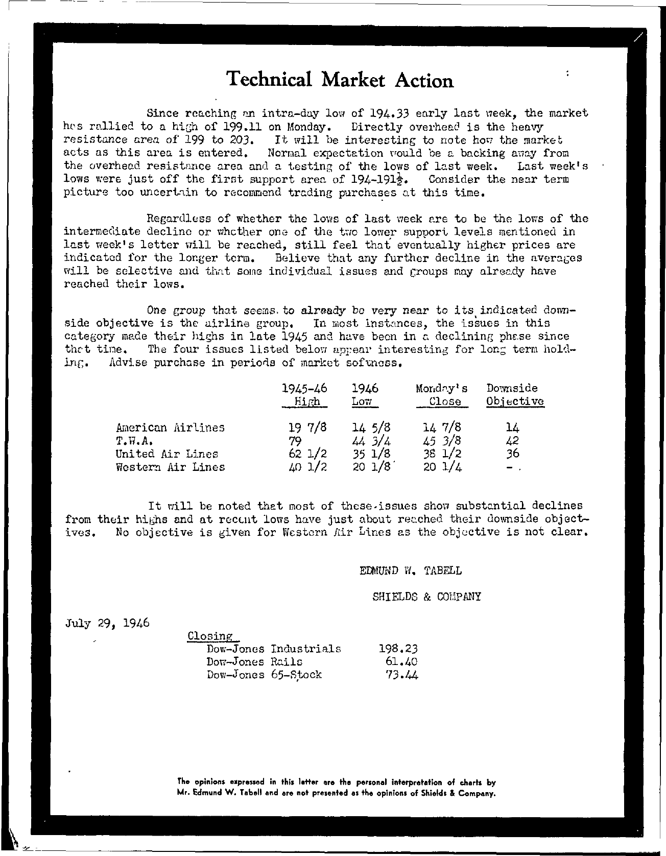 Tabell's Market Letter - July 29, 1946