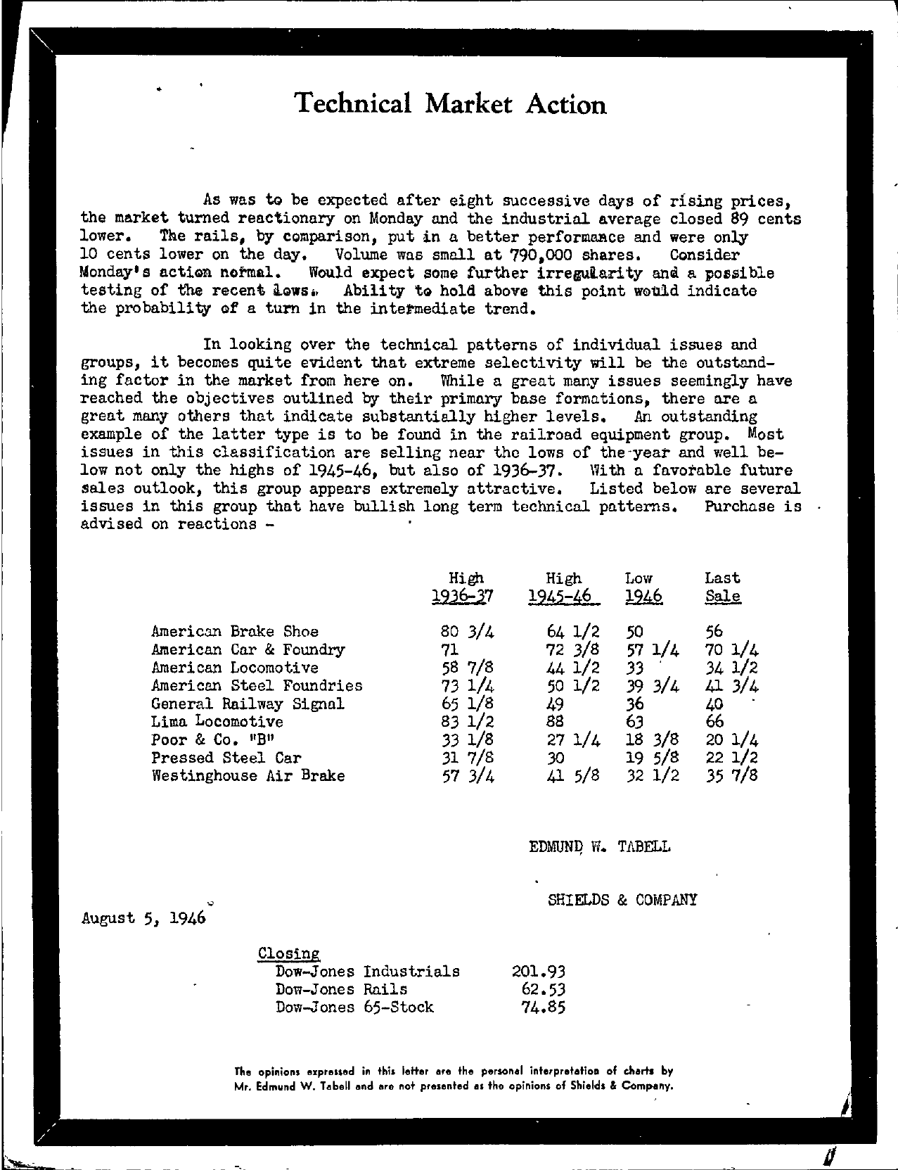 Tabell's Market Letter - August 05, 1946