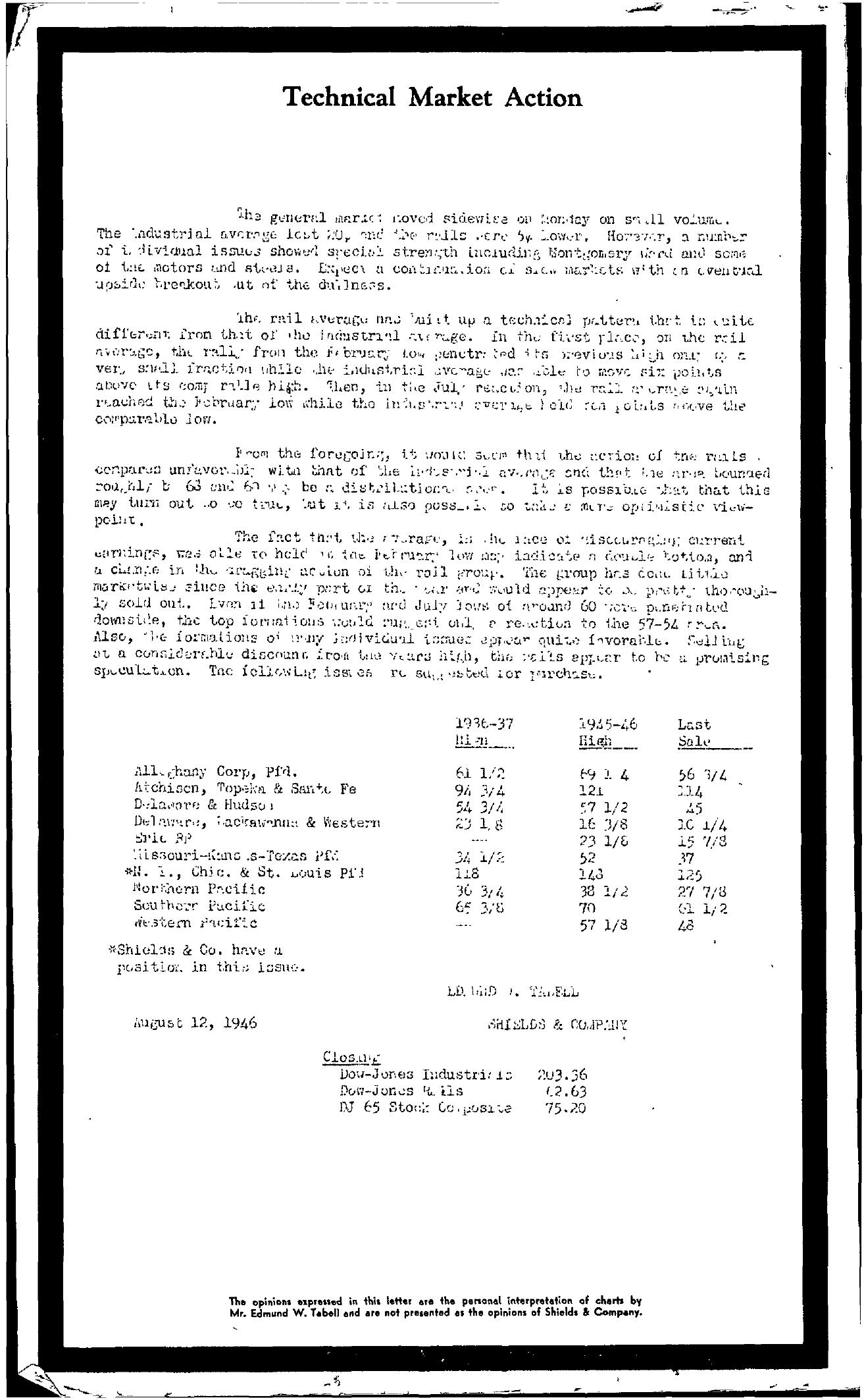 Tabell's Market Letter - August 12, 1946