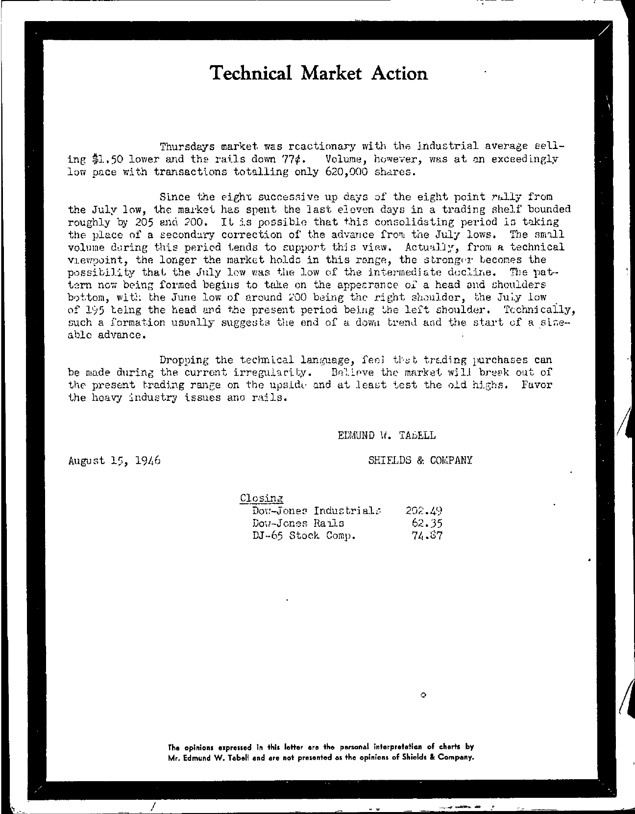 Tabell's Market Letter - August 15, 1946
