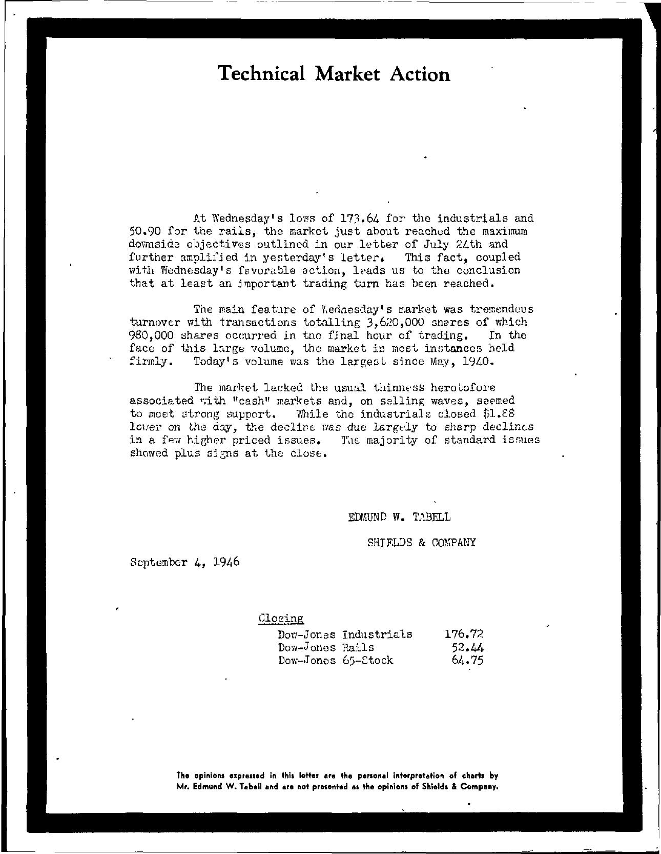 Tabell's Market Letter - September 04, 1946