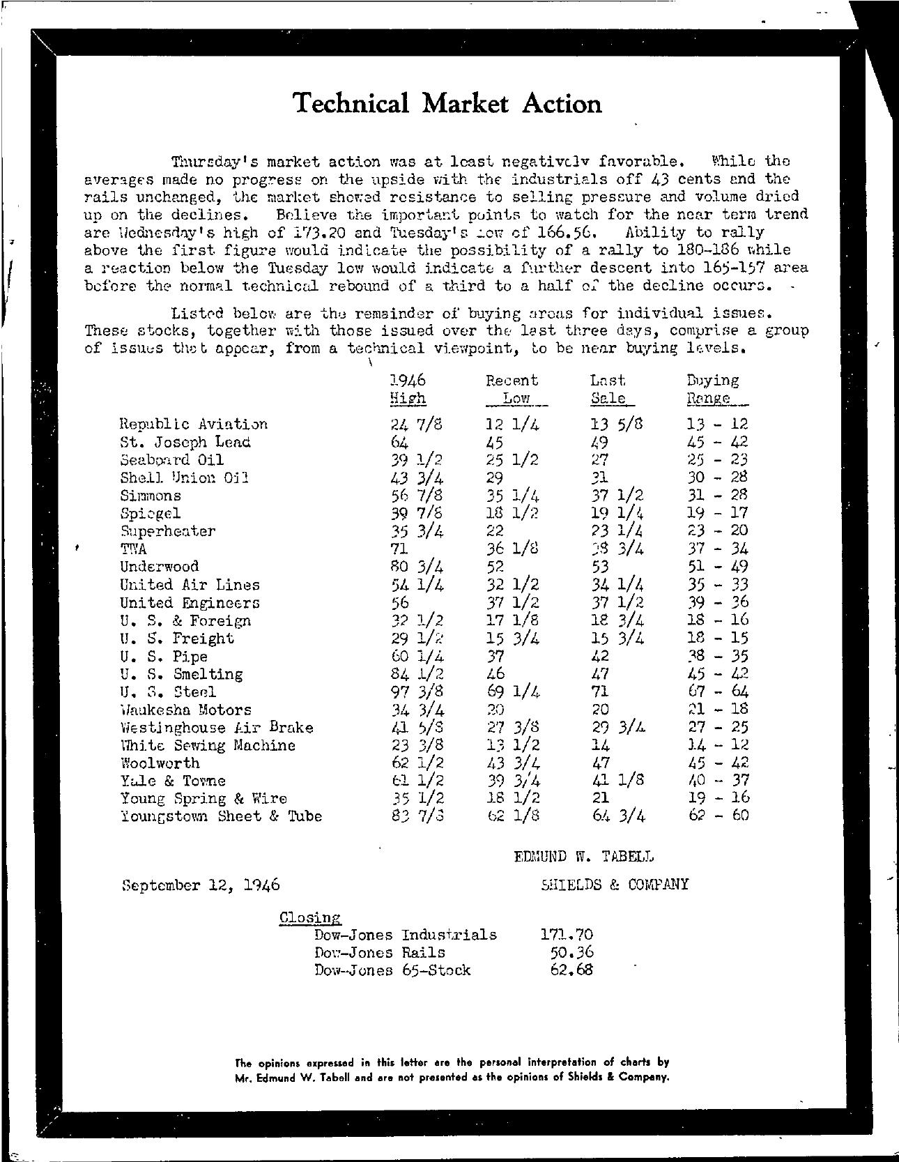 Tabell's Market Letter - September 12, 1946