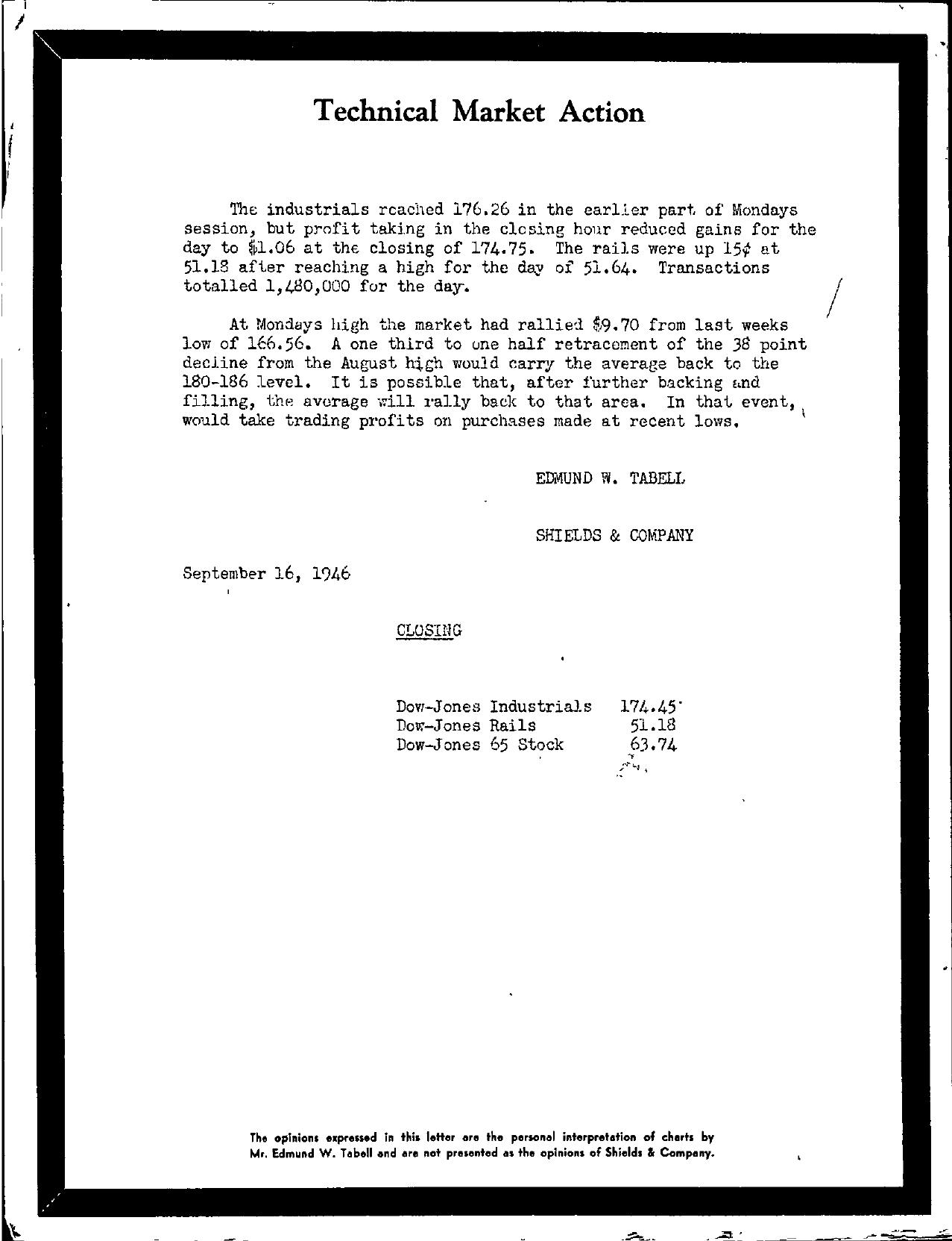 Tabell's Market Letter - September 16, 1946