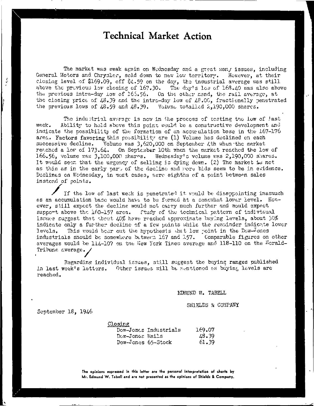 Tabell's Market Letter - September 18, 1946