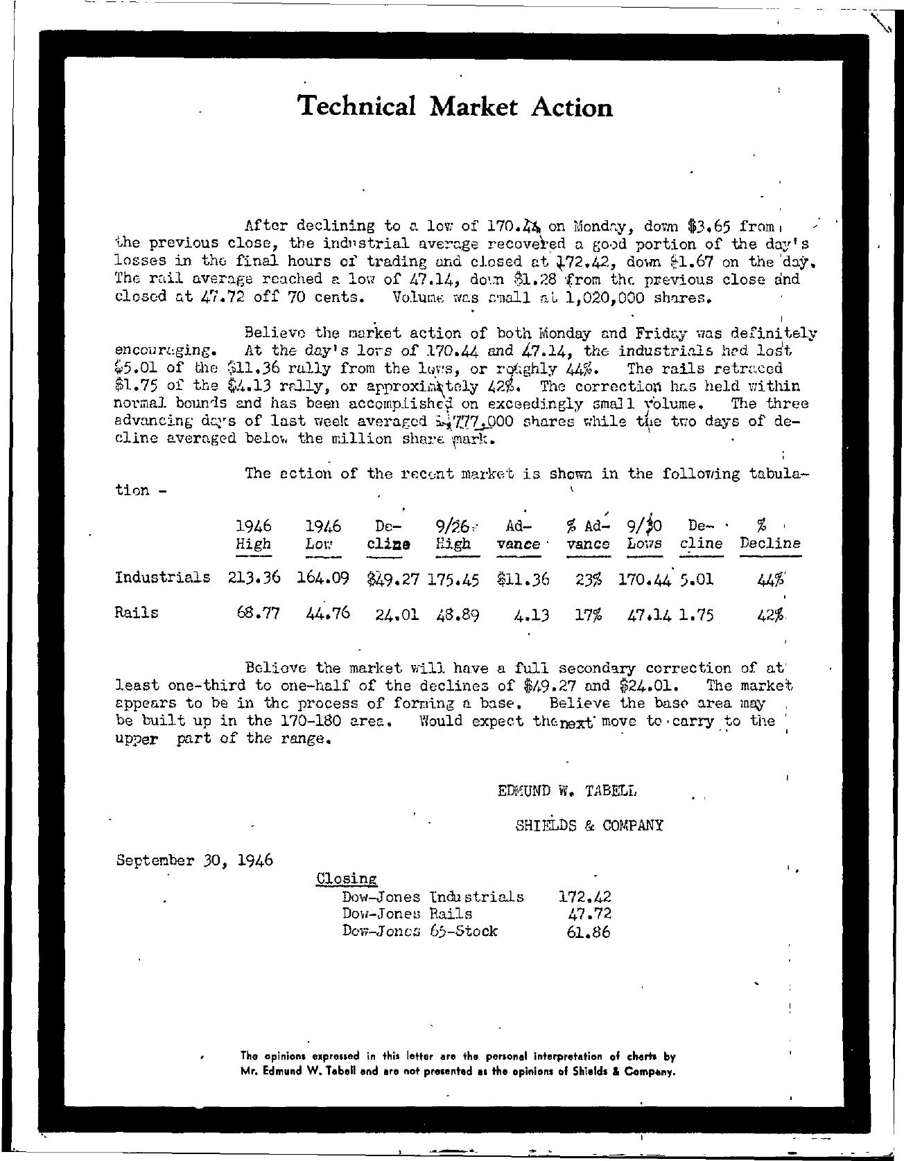 Tabell's Market Letter - September 30, 1946