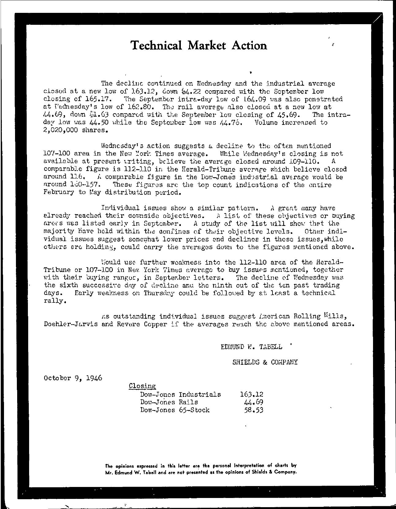 Tabell's Market Letter - October 09, 1946