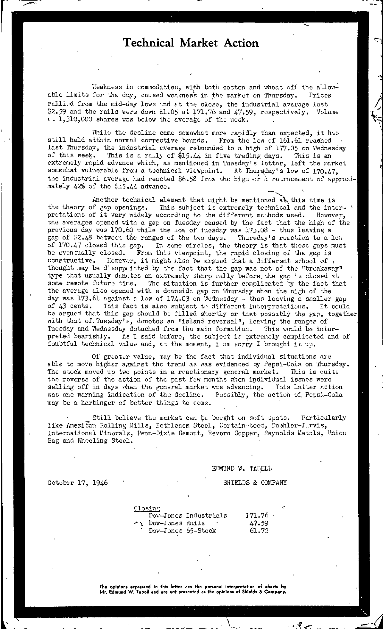 Tabell's Market Letter - October 17, 1946