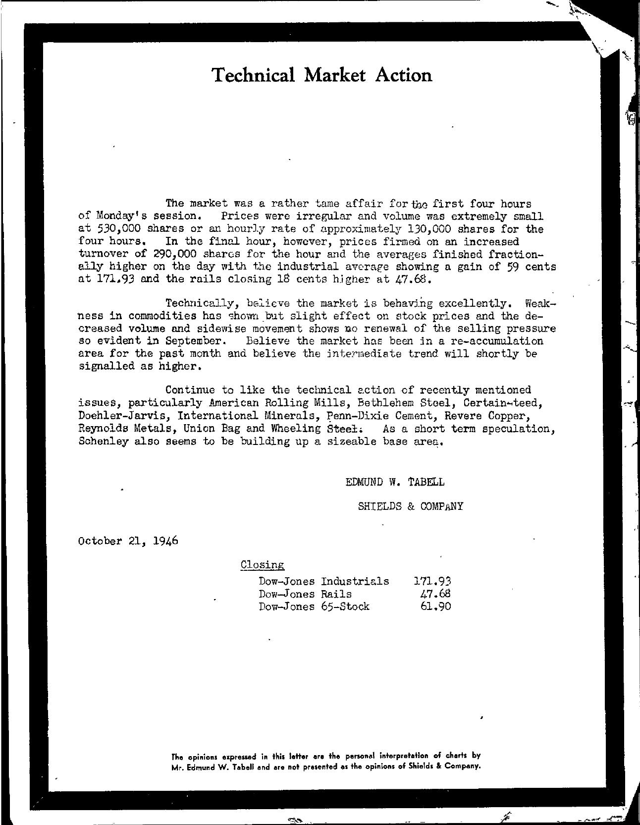 Tabell's Market Letter - October 21, 1946