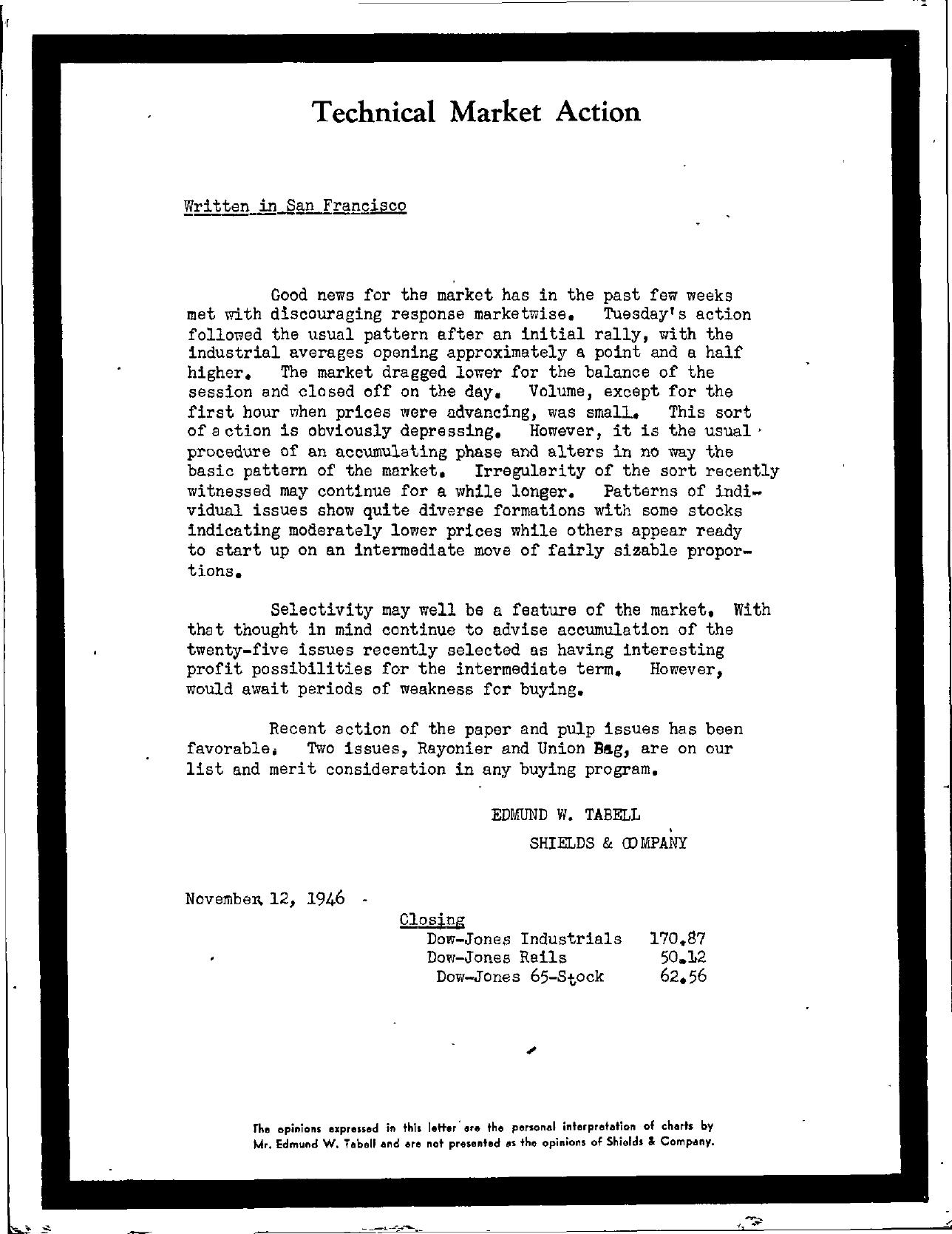 Tabell's Market Letter - November 12, 1946