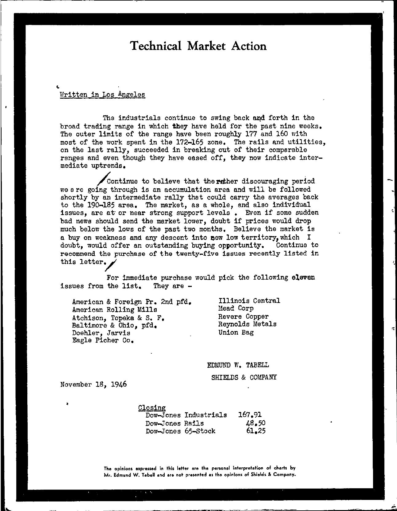 Tabell's Market Letter - November 18, 1946