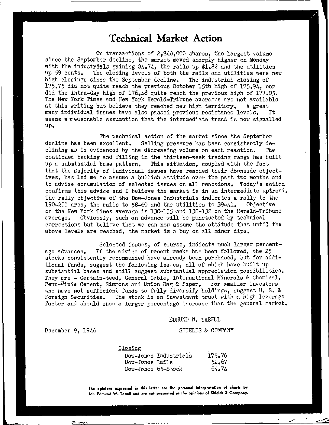 Tabell's Market Letter - December 09, 1946