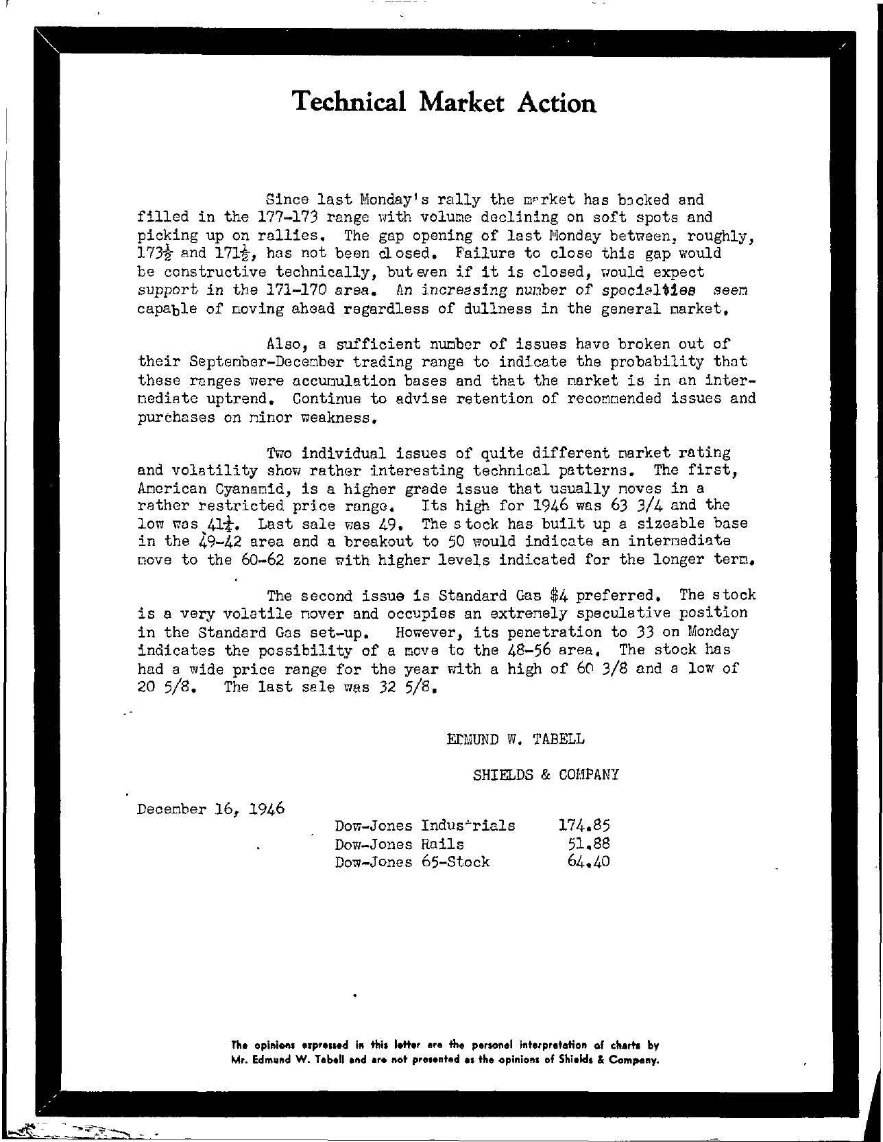 Tabell's Market Letter - December 16, 1946