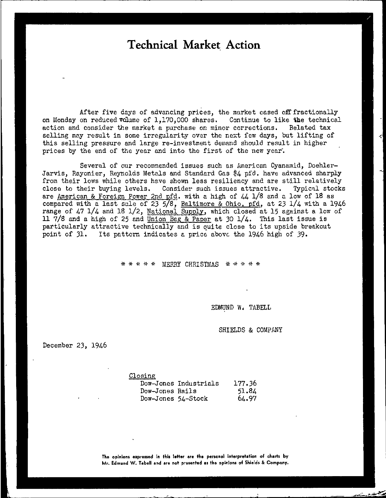 Tabell's Market Letter - December 23, 1946