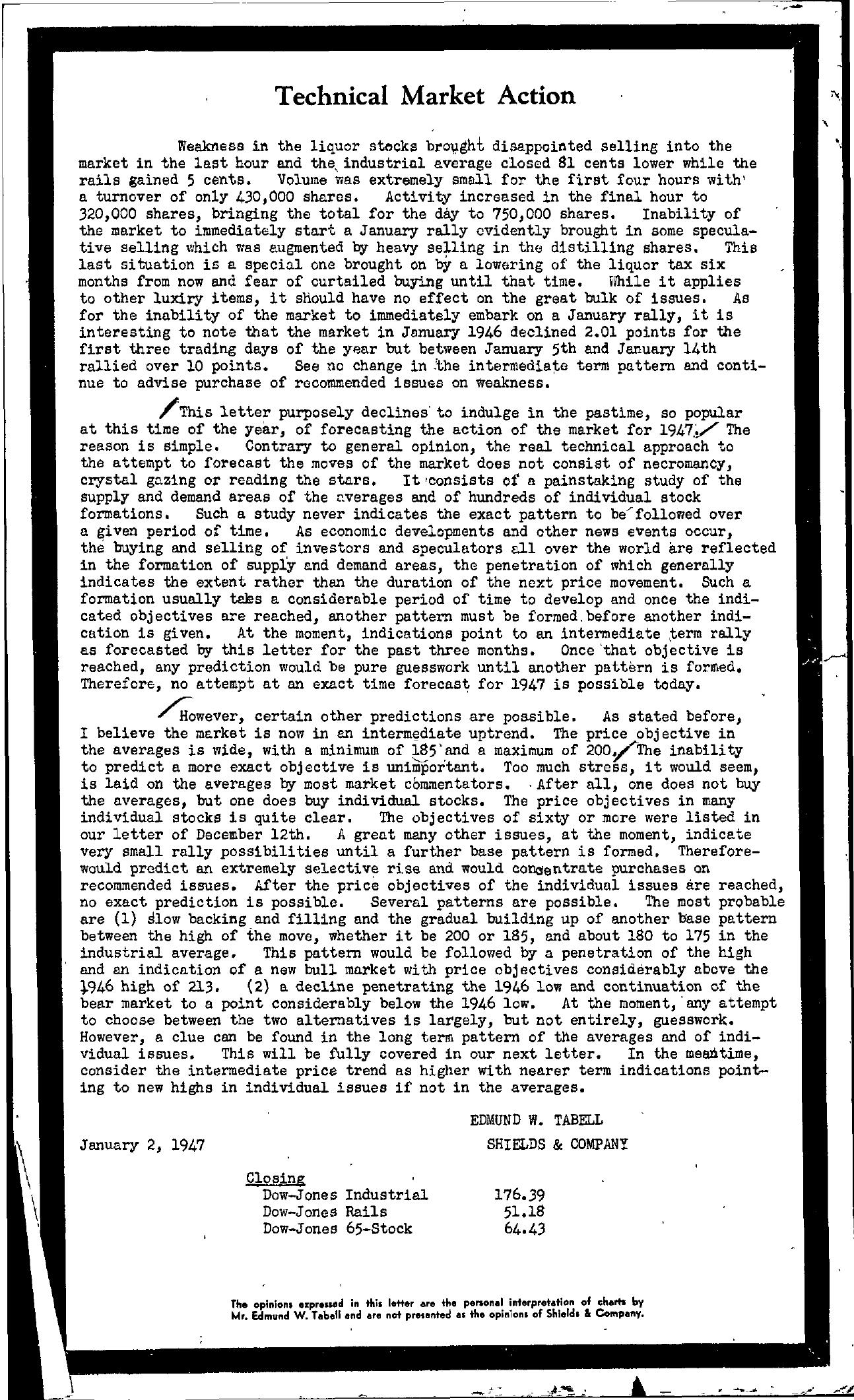 Tabell's Market Letter - January 02, 1947