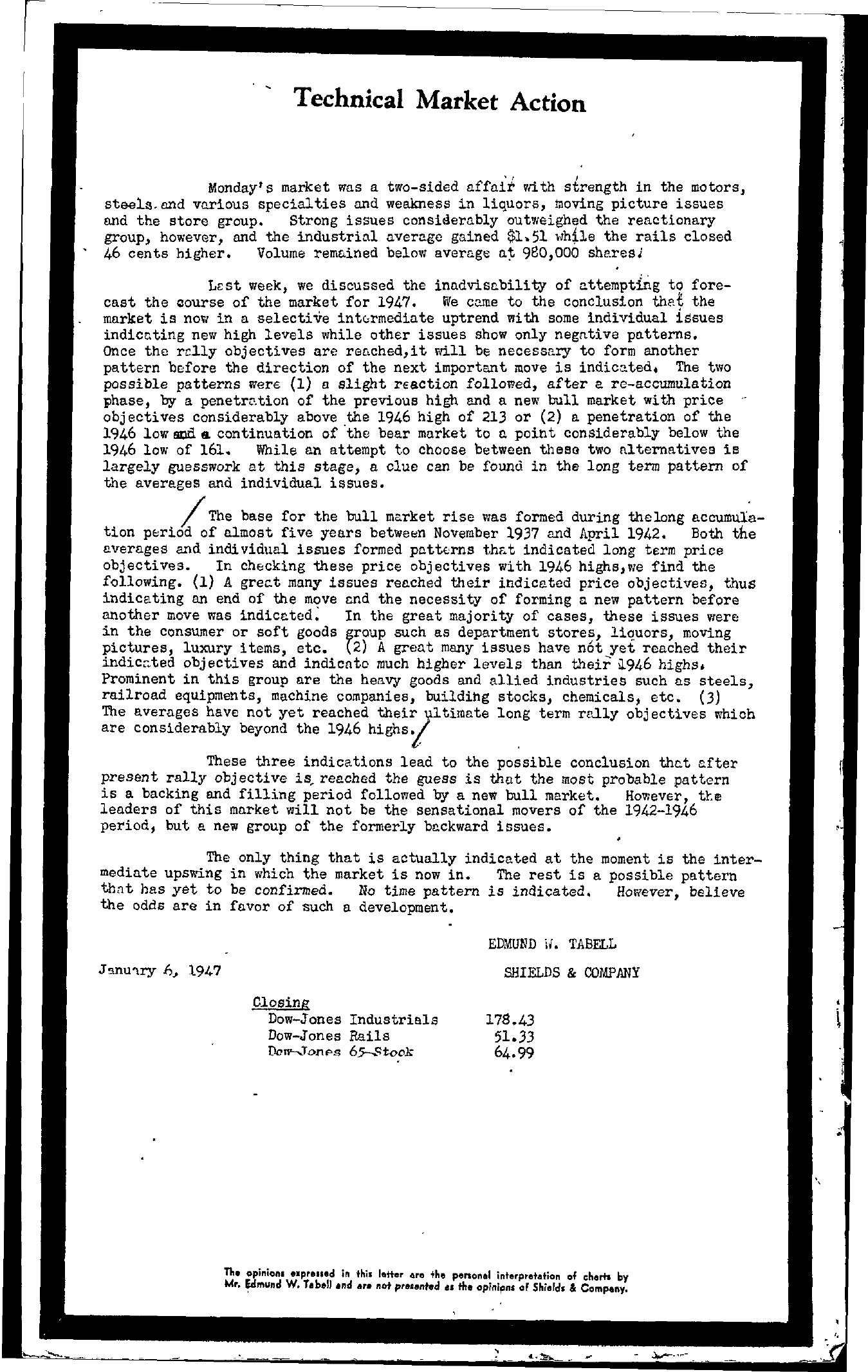 Tabell's Market Letter - January 06, 1947