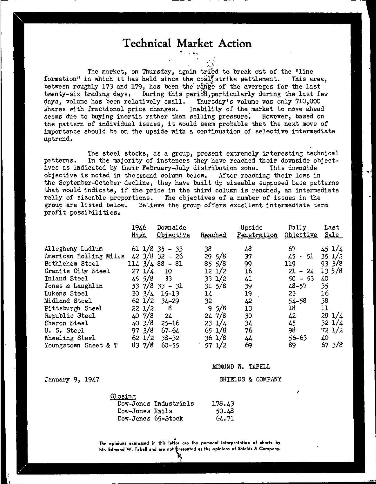Tabell's Market Letter - January 09, 1947