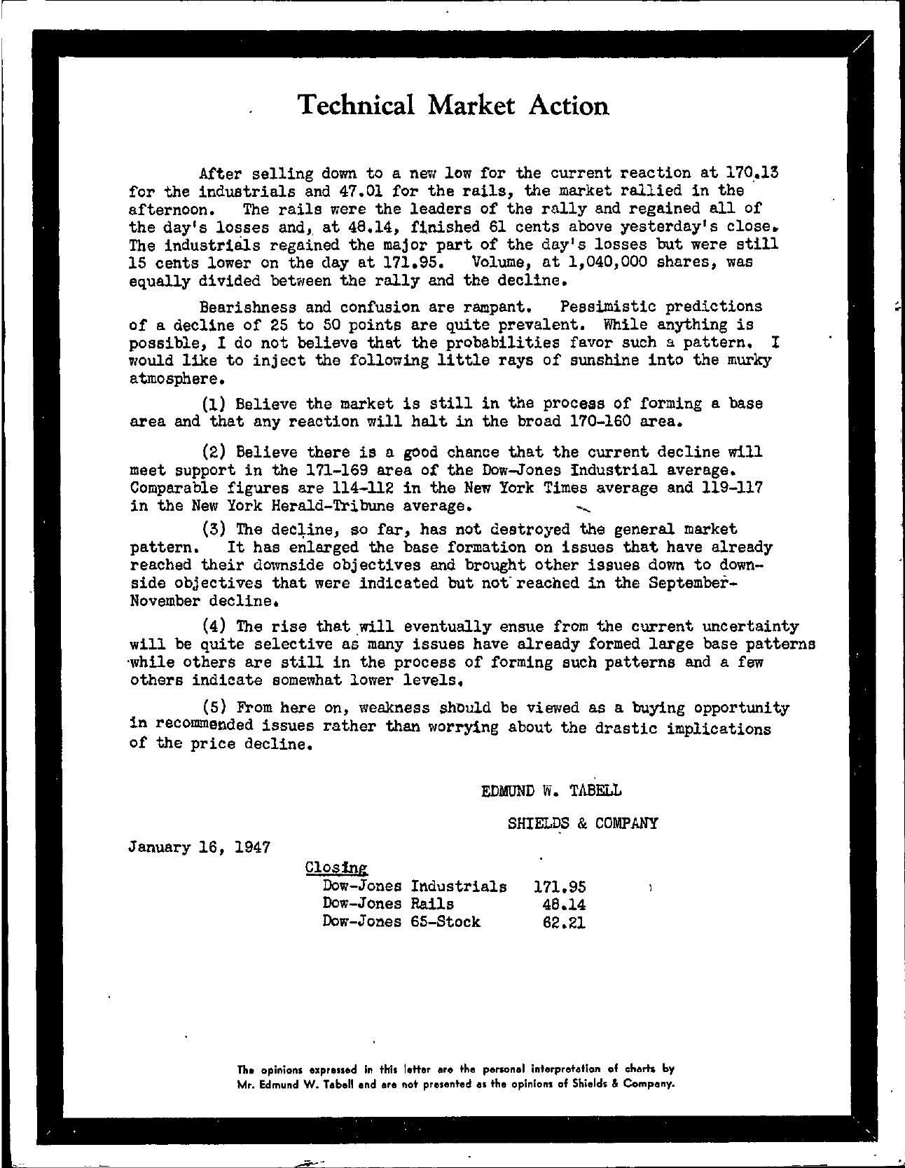 Tabell's Market Letter - January 16, 1947