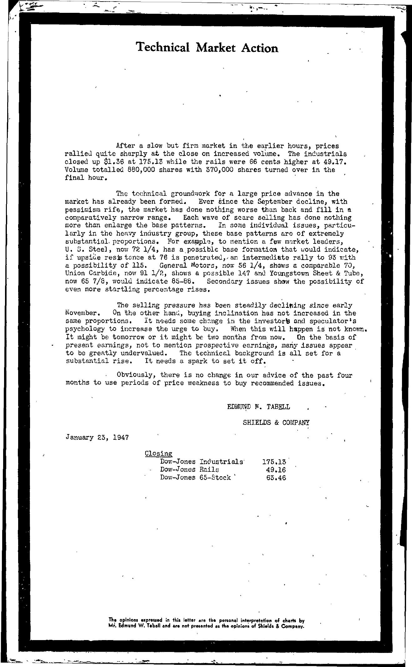 Tabell's Market Letter - January 23, 1947