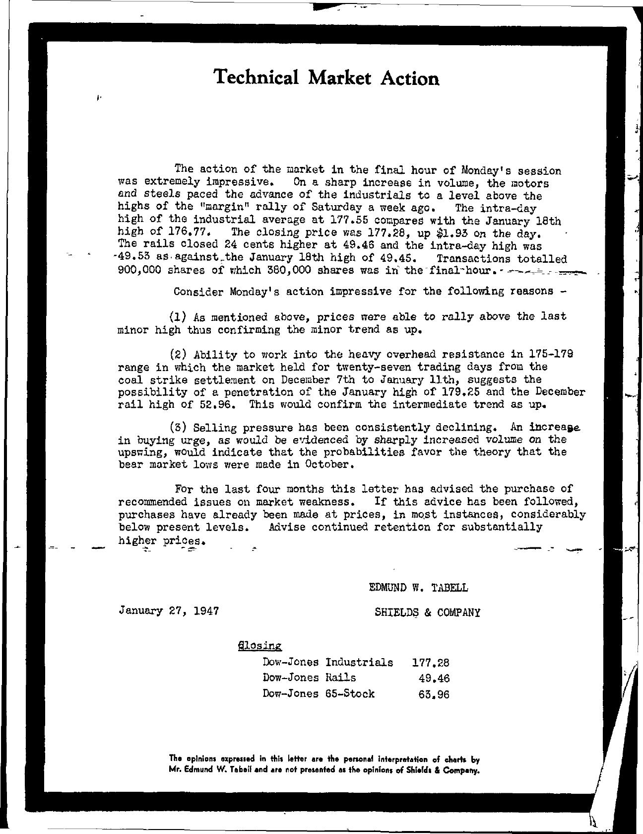 Tabell's Market Letter - January 27, 1947