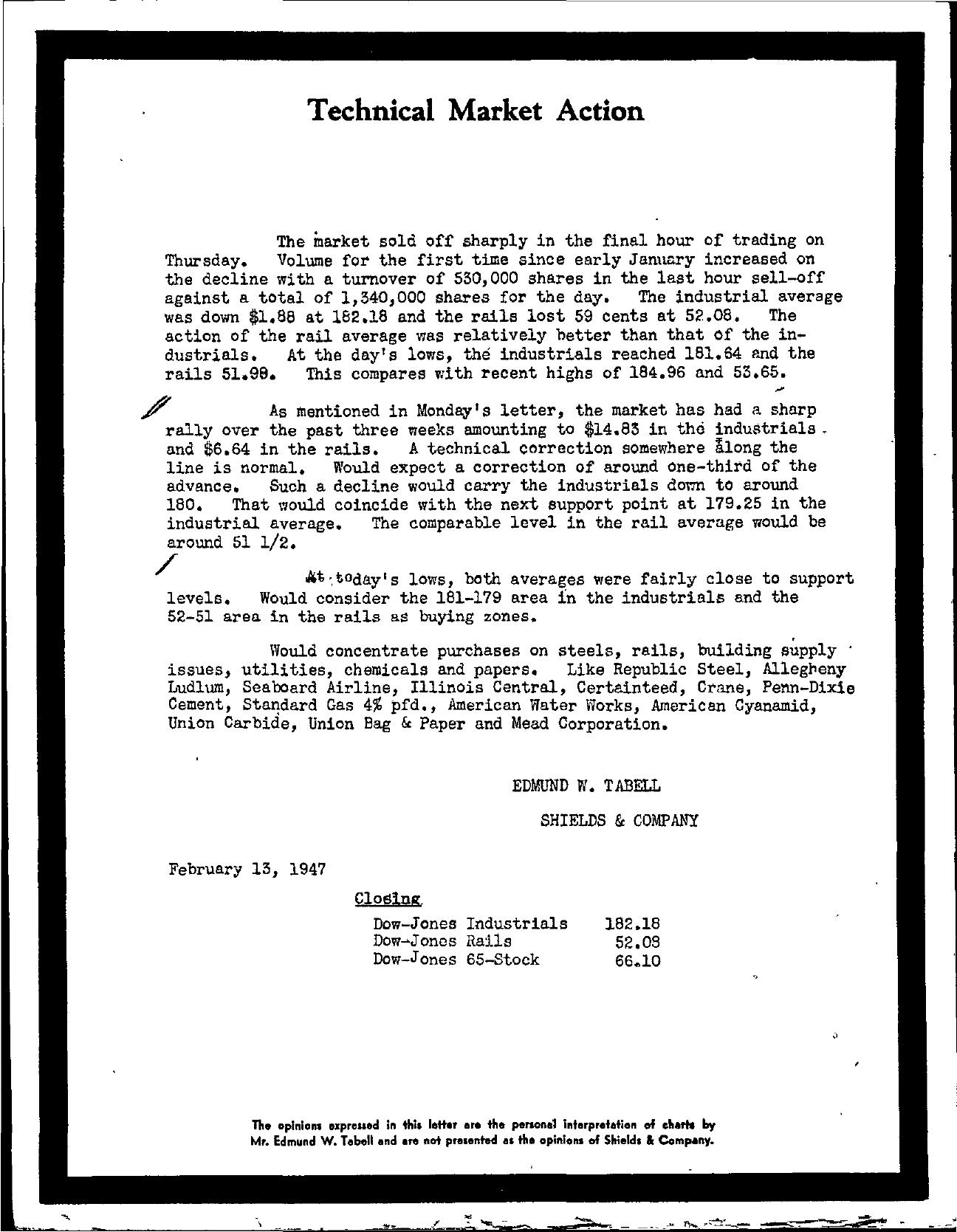 Tabell's Market Letter - February 13, 1947