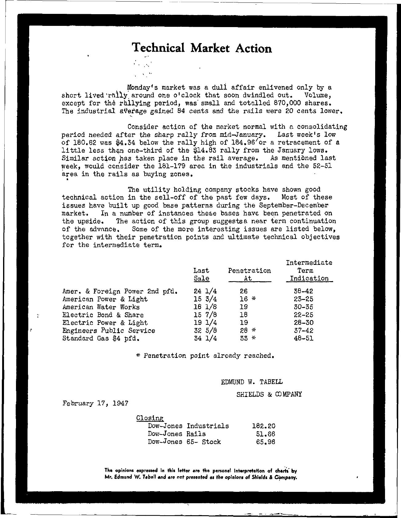 Tabell's Market Letter - February 17, 1947