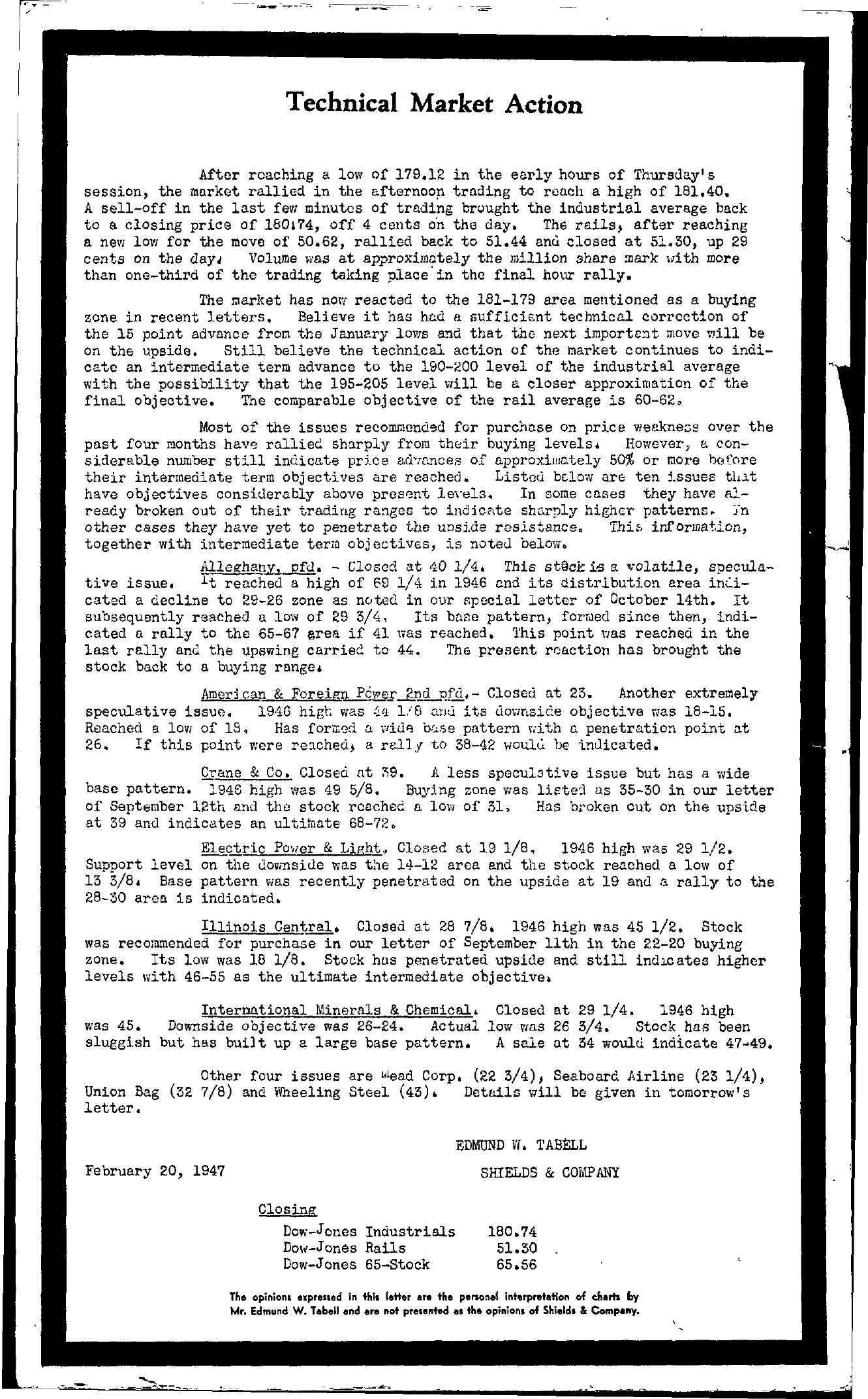 Tabell's Market Letter - February 20, 1947