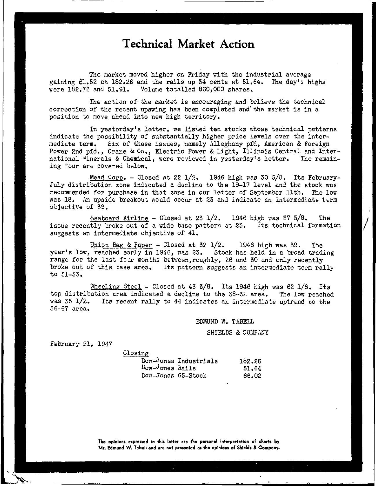 Tabell's Market Letter - February 21, 1947