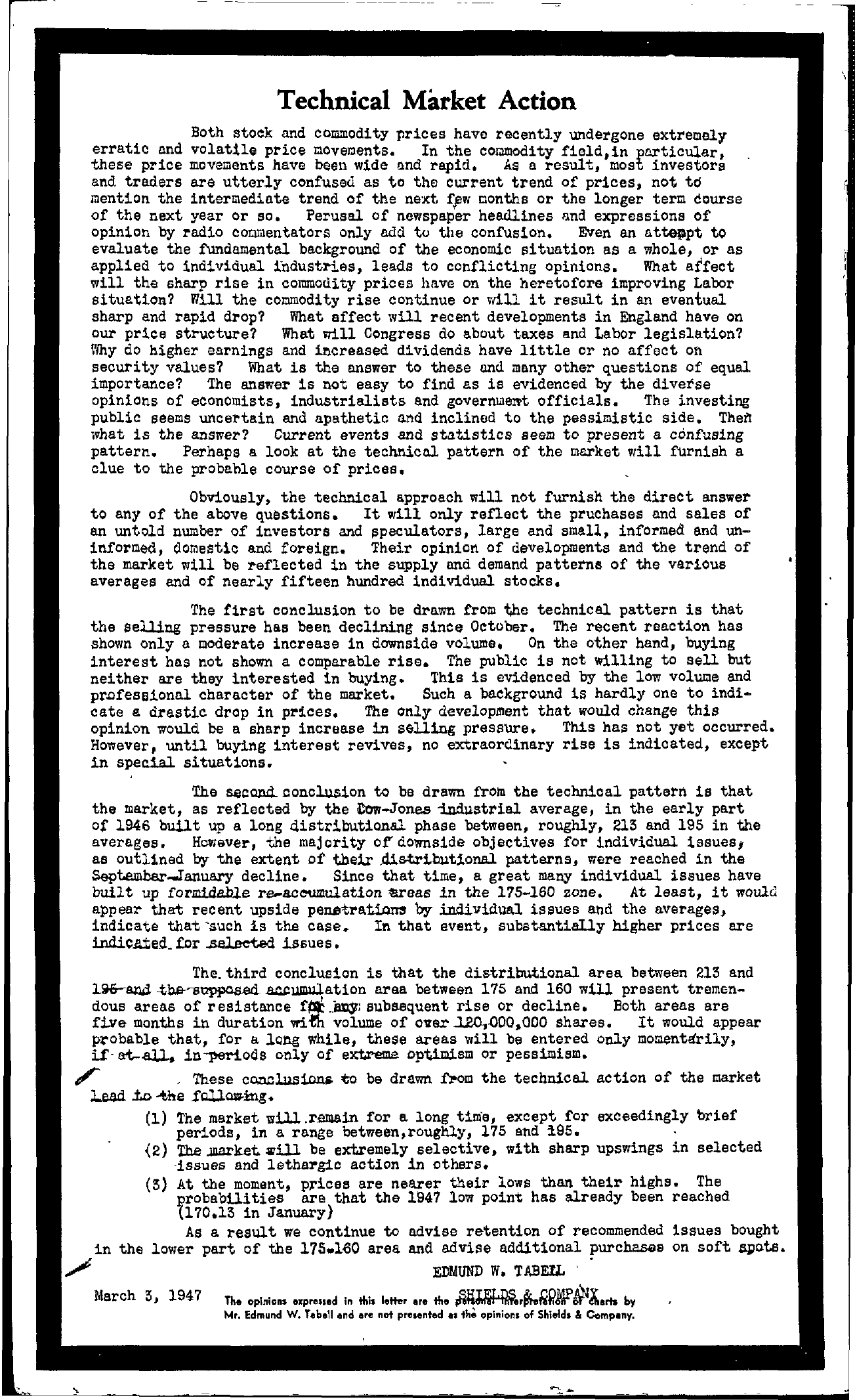 Tabell's Market Letter - March 03, 1947