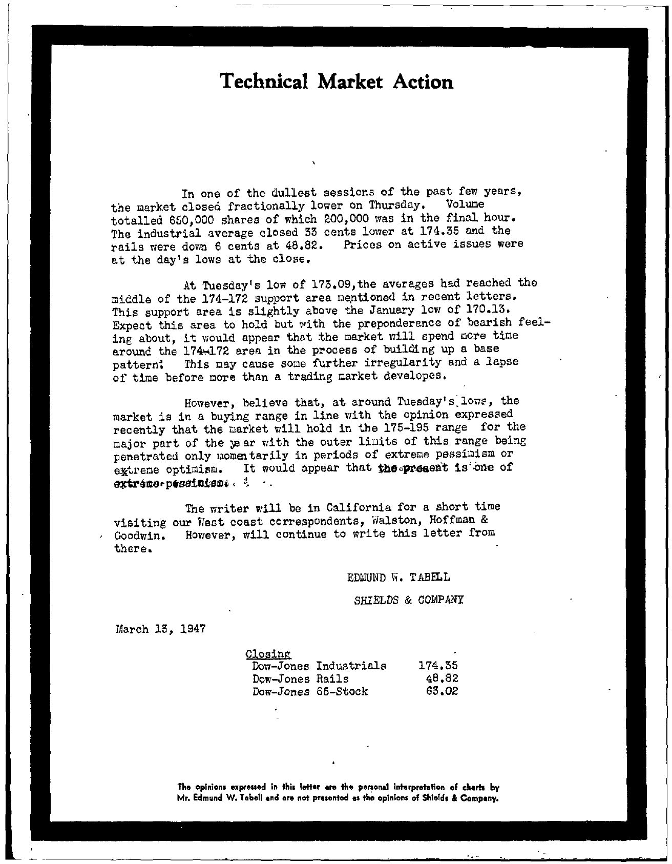 Tabell's Market Letter - March 13, 1947
