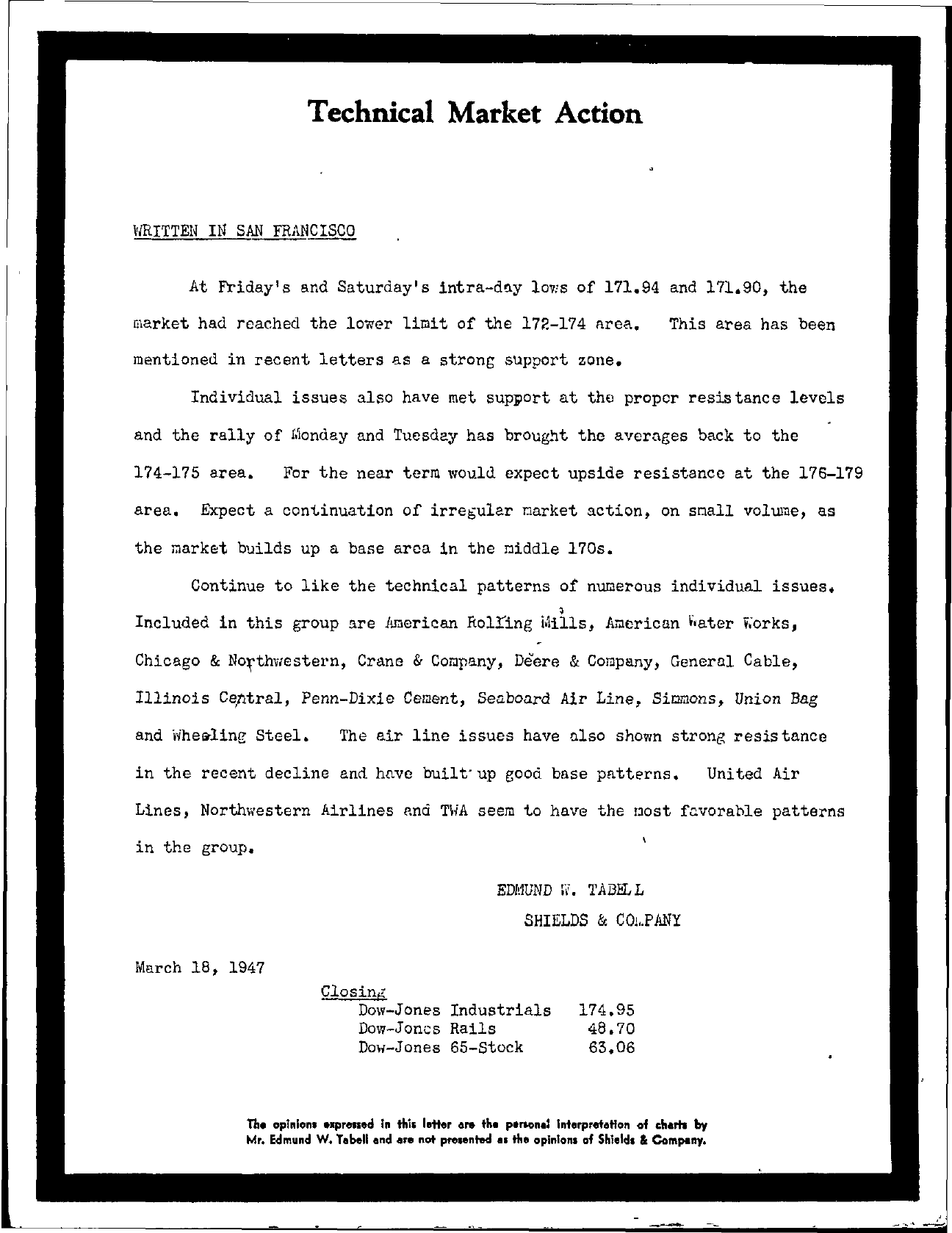 Tabell's Market Letter - March 18, 1947