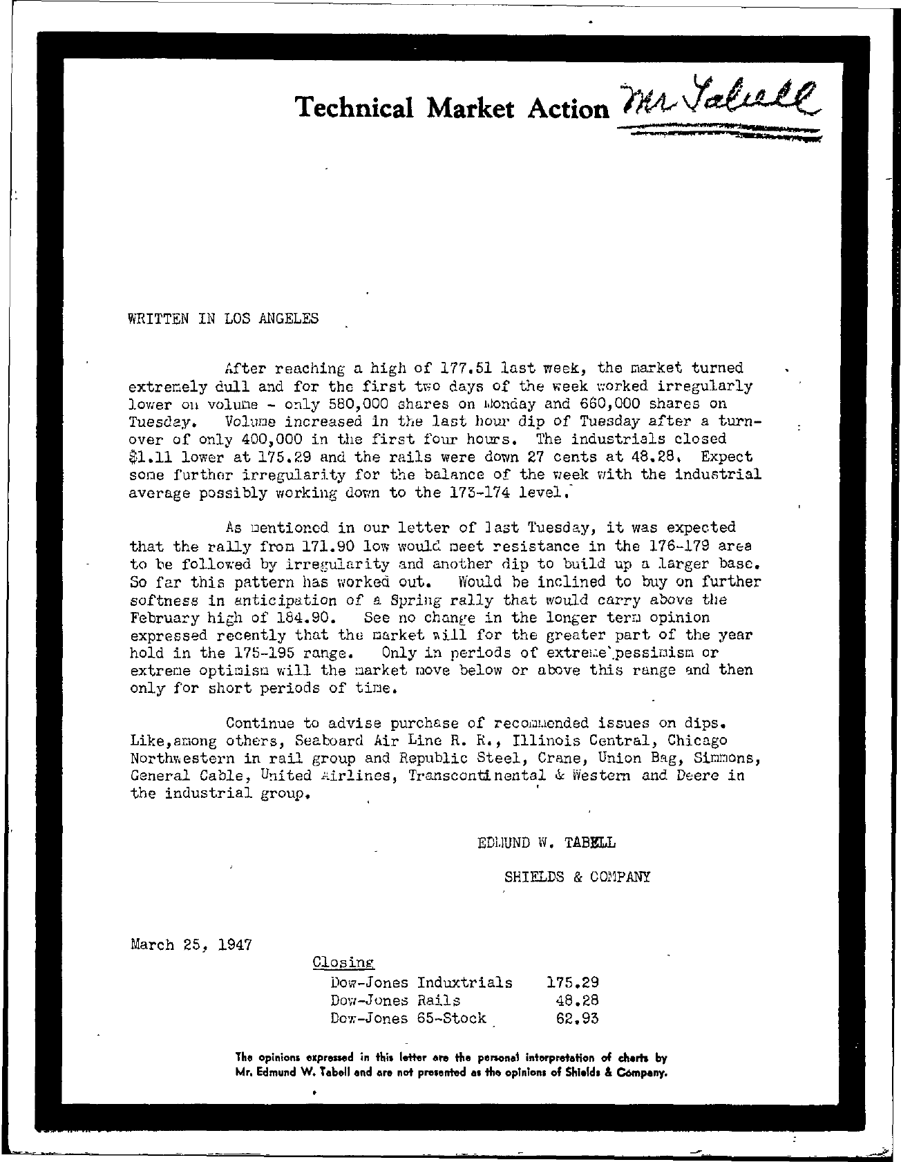 Tabell's Market Letter - March 25, 1947