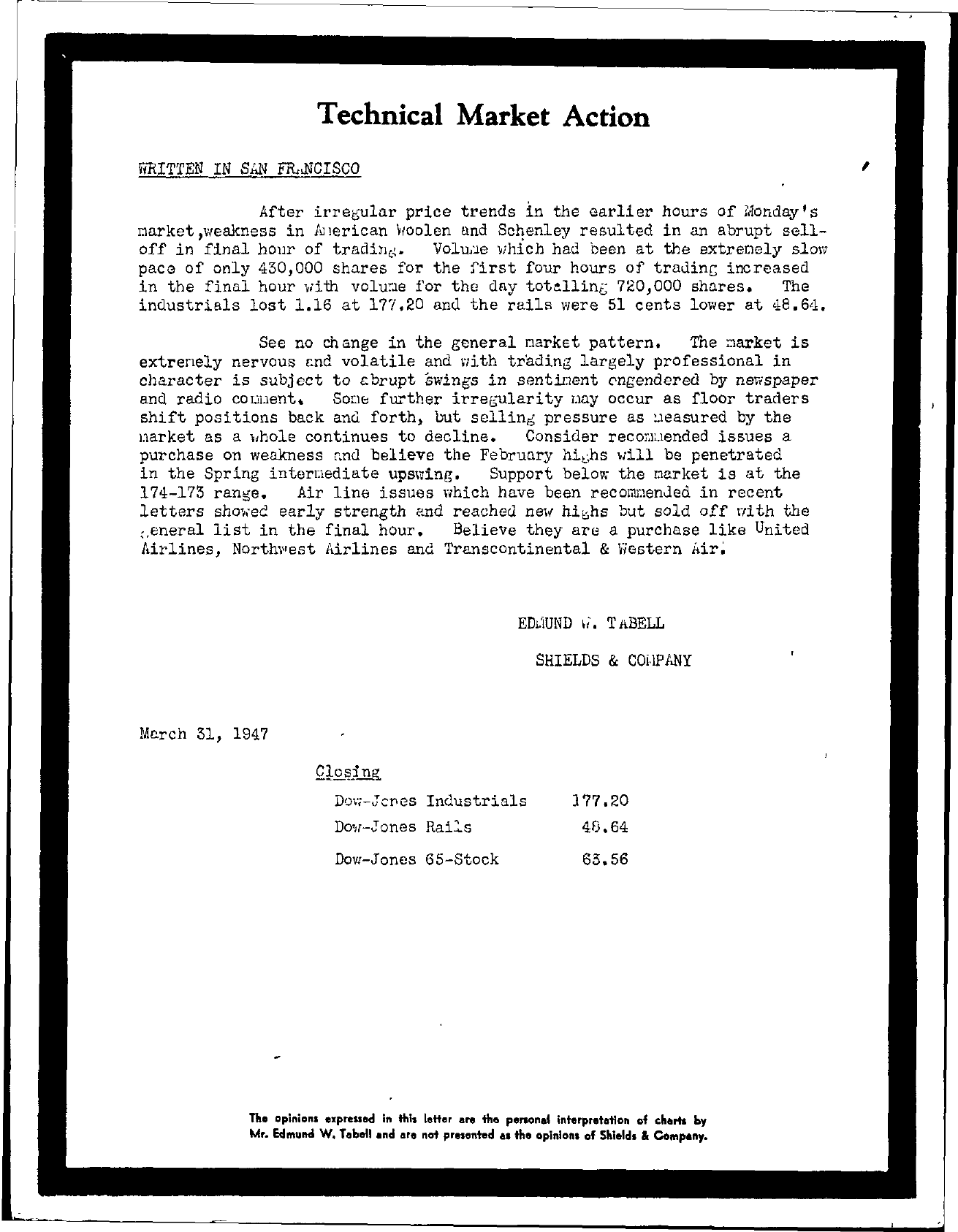 Tabell's Market Letter - March 31, 1947
